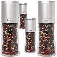 1aTTackde-Lot-de-4-moulins--poivre--sel-ou--pices-en-acier-inoxydable-avec-mcanisme-en-cramique-et-4-rcipients-de-rechange-en-verre-Livrs-vides-dans-un-emballage-cadeau-150-ml-Hauteur-16-cm-0-1