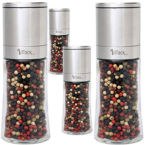 1aTTackde-Lot-de-4-moulins–poivre–sel-ou–pices-en-acier-inoxydable-avec-mcanisme-en-cramique-et-4-rcipients-de-rechange-en-verre-Livrs-vides-dans-un-emballage-cadeau-150-ml-Hauteur-16-cm-0-1