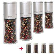 1aTTackde-Lot-de-4-moulins--poivre--sel-ou--pices-en-acier-inoxydable-avec-mcanisme-en-cramique-et-4-rcipients-de-rechange-en-verre-Livrs-vides-dans-un-emballage-cadeau-150-ml-Hauteur-16-cm-0-2