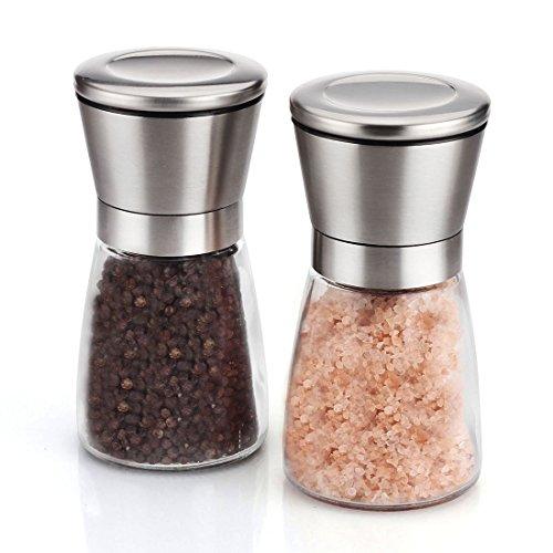 Set-de-deux-Salire-et-poivrire-Taille-de-grain-rglable-moulins–poivre-Obtenez-du-sel-du-poivre-ou-dautres-pices-frachement-moulus-grce–ce-set-selpoivre-en-acier-bross-et-verre-0-1