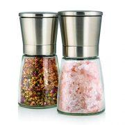 Set-de-deux-lgants-moulins--sel-et-poivre-avec-support-Taille-de-grain-rglable-Obtenez-du-sel-du-poivre-ou-dautres-pices-frachement-moulus-grce--ce-set-selpoivre-en-acier-bross-et-verre-0-3