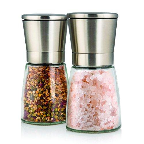 Set-de-deux-lgants-moulins–sel-et-poivre-avec-support-Taille-de-grain-rglable-Obtenez-du-sel-du-poivre-ou-dautres-pices-frachement-moulus-grce–ce-set-selpoivre-en-acier-bross-et-verre-0-3