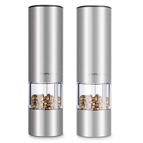 Simpletaste-Batterie-fonctionnant-Moulin–poivre-lectrique-avec-broyeur-en-cramique-rglable-Acier-inoxydable-Silber-Lot-de-2-0