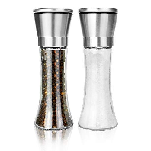 Maison-White-Ensemble-de-2-moulins–sel-et–poivre-Paire-de-salires–grosseur-rglable-Moulins–pices-en-acier-inoxydable-bross-Design-en-verre-et-facile–remplir-0