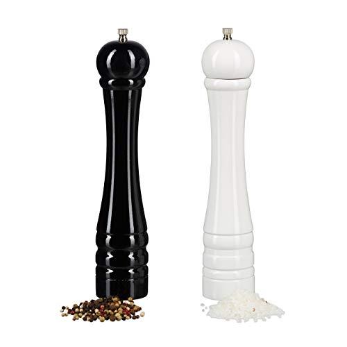 Relaxdays-Moulin–pices-en-bois-poivrier-set-de-2-meule-en-cramique-manuel-grand-30-cm-classique-noir-blanc-0